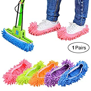 Dusenly Mop Slippers 1 Pair (2 Pieces) - Soft Reusable Microfiber Foot Socks Floor Cleaning Tool Shoe Cover (Green)