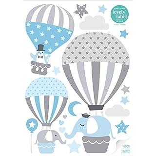 lovely label Stickers muraux pour Chambre Enfant Lot de 33, montgolfière & Animaux - Autocollants pour Chambre de bébé - Décoration Murale Gris & Bleu