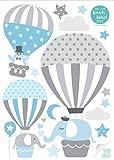 lovely label Wandsticker selbstklebend HEISSLUFTBALLONS GRAU/BLAU - Wandaufkleber Kinderzimmer/Babyzimmer mit Tieren - Wandtattoo Schlafzimmer Mädchen & Junge, Wanddeko Baby/Kinder
