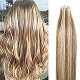 Extension Cheveux Naturel à Bande Adhesive 40 Pcs Rajout 100% Cheveux Humains Remy Hair (#12+613...