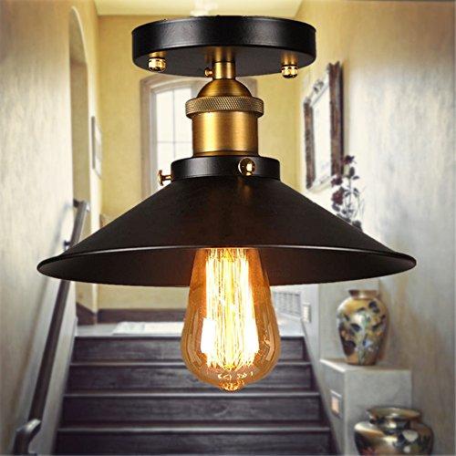 Industriell Deckenleuchte,Makion Industrial Edison Loft Flushed Mounted Antique Messing Deckenleuchte Pendelleuchte für Küche / Wohnzimmer / Flur [Energieklasse A ++]