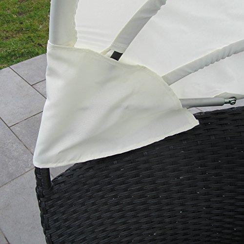 JOM Sonneninsel, Polyrattan Garten Lounge, Chill-Out Sofa mit Baldachin (195x115x140 cm), schwarz, Aluminiumgestänge, mit Sitzpolster und 6 Kissen beige - 4