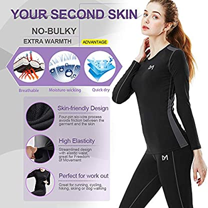 MEETYOO Women's Thermal Underwear Set, Ultra Soft Base Layer for Ladies, Fleece Lined Long Johns Sport Top&Leggings Set for Running Skiing Cycling Workout 4