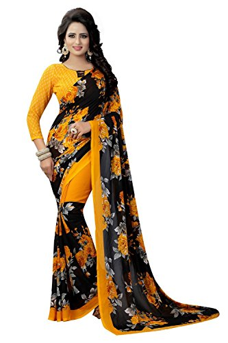 MACUBE SAREE_New Printed Designer Georgette Yellow color saree with blouse piece