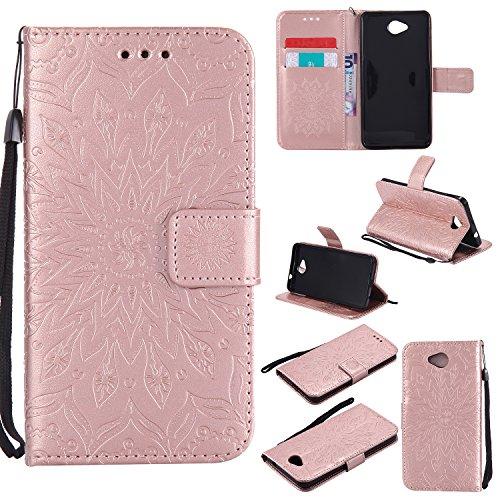 YYhin Schutzfolie für Microsoft Lumia 650/Lumia 650 Dual-SIM hülle, Cartera Wallet Leder abnehmbare magnetische abnehmbare Tasche mit Flip Schutzhülle Case.(Roségold)