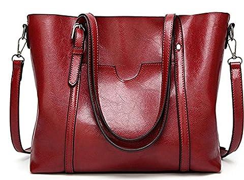 ECOTISH Premium Damen Handtasche Leder Henkeltasche Vintage Umhängetasche Schultertasche große Kapazität Shopper Tasche