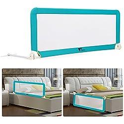 Amzdeal Barrière de Lit Portable pour bébé enfant, Barrière de sécurité Lavable en Nylon + Plastique 150 * 50 * 40cm (Bleu)
