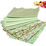 KING DO WAY Pack Of Series 8 Assorted Pre-Cut Fat Quarters Bundle Charm Cotton Quilt Fabric Patchwork Green 45cm x 45cm