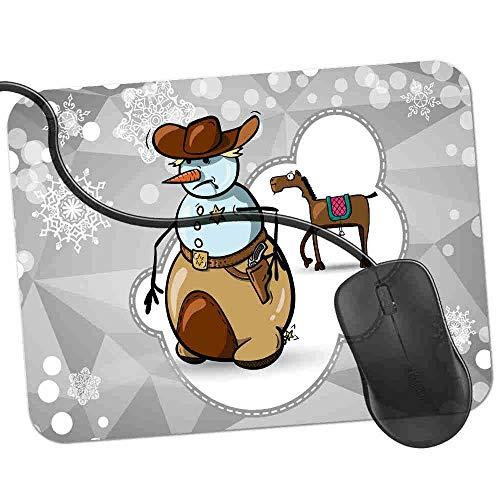 Gaming Mauspad Schneemann Cowboy Sherriff Abzeichen Fransenfreie Ränder spezielle Oberfläche verbessert Geschwindigkeit und Präzision rutschfest 2K534