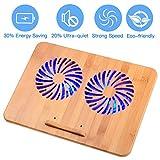 Notebook Cooling Pad–Beste Bambus Holz Laptop Kühler für 30,5–43,2cm Laptop, mit 2leistungsstarken Fans, Verstellbare Halterung Ständer