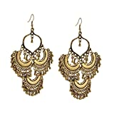 Zephyrr Jewellery Oxidized Ethnic Silver Golden Beaded Dangler Hook Earrings