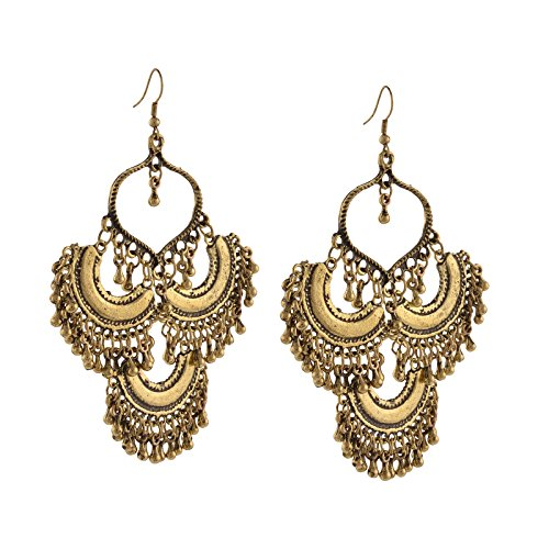 Zephyrr Jewellery Oxidized Ethnic Silver Golden Beaded Dangler Hook Earrings for Girls and Women