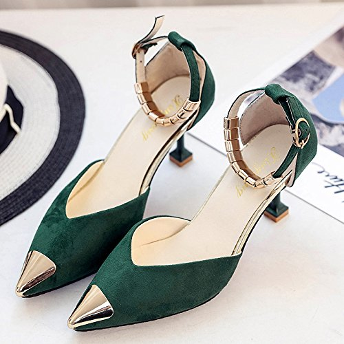 RUGAI-UE Estate High-Heeled fibbia belle scarpe Green