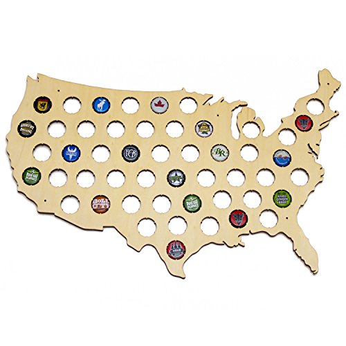 USA Beer Cap Map - Holds 50 Craft Beer Bottle Caps by San Diego Laser Studio
