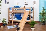Kinderbett Etagenbett Jonas Buche Vollholz natur massiv mit Rutsche inkl.
