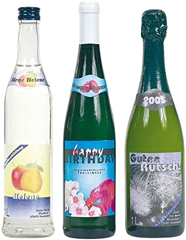 Your Design Flaschen Etiketten: 32 Inkjet-Flaschenetiketten 8,5x10 cm mit 32 Banderolen (Individuelle (8,5 Aufkleber)