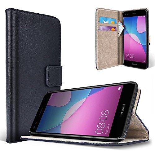 saii Huawei P9 Lite Mini Hülle Huawei Y6 Pro (2017) Handytasche Brieftasche Ledertasche Schutzhülle für Huawei P9 Lite Mini Schwarz