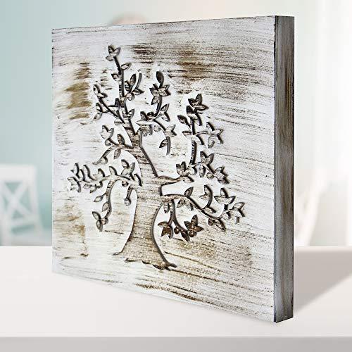 Cuadro Mandala de Pared - árbol de la Vida Calada, Fabricada artesanalmente en España- Mandala 3D Cuadrada Pintada a Mano- Modelo Mosaico 212 (Blanco Envejecido, 30x30cm)