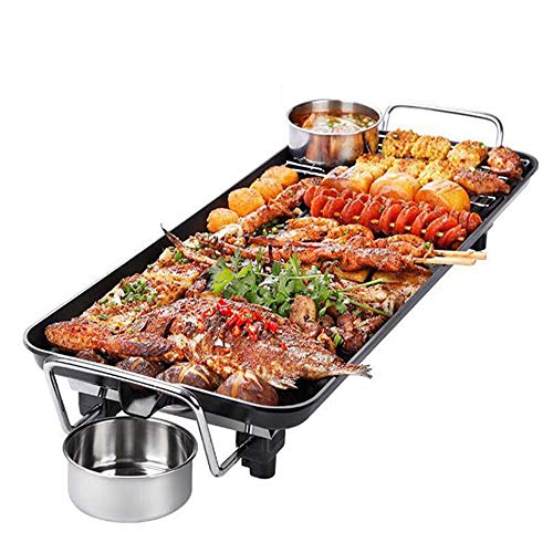 DZSF Teppanyaki Electric Grill Plate | Großer Non-Stick-Tabellen-Griddle mit 48cm x 27cm Hot Plate & Adjustable Temperatur