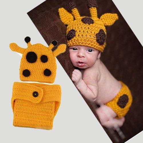 PRIMI 1Lovely handgefertigt Giraffe Thema aus Wolle Häkel-Set für Neugeborene für Fotoshootings (gelb) (Neugeborene Giraffe Kostüm)