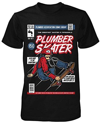 Plumber Skater T-Shirt Neu Fun Skate Punk Tee Shirts Geek Comic Satire Game (Skater Halloween Kostüm Punk)