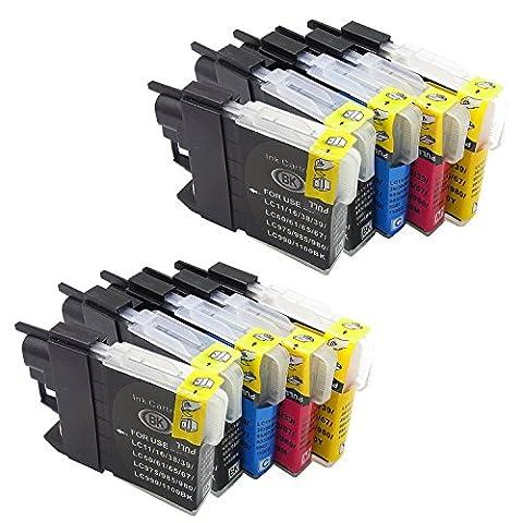 Generisches Kompatible Tintenpatrone als Ersatz für BROTHER LC1100BK LC1100C LC1100M LC1100Y ( 4x Schwarz, 2x Cyan, 2x Magenta, 2x Gelb, 10er-Pack)