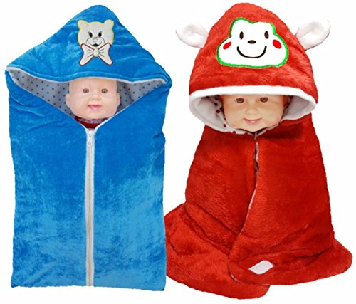 Brandonn Newborn 3 in 1 wrapper , Safety Bag Cum Sleeping Bag Cum Baby Blanket For Babies (Pack Of 2)