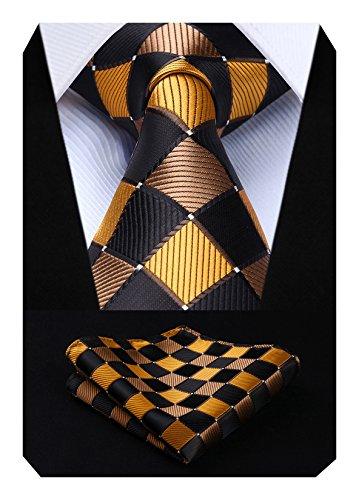 Hisdern Herren Krawatte Taschentuch Check Krawatte & Einstecktuch Set Braun & Orange Check-krawatte Tie