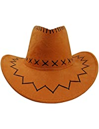Sombrero - SODIAL(R)Retro Unisex Sombreros accesorio del vestido de lujo de Rodeo de vaqueros de Oeste Salvaje de Mezclilla naranja