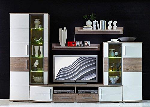 4-tlg. Wohnwand in Silbereiche Nachbildung, Fronten in weiß-Struktur und Absetzungen in Silbereiche Nb., Maße: B/H/T ca. 296/198/50 cm