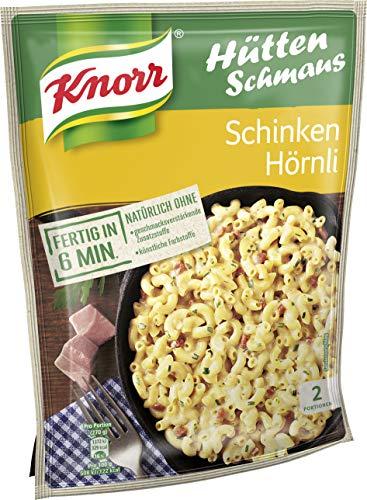 Knorr Hüttenschmaus Schinken Hörnli Nudel-Fertiggericht 2 Portionen (Verpackung Sortiert) (5 x 500 ml)