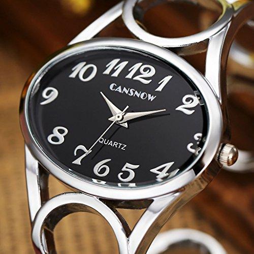 JSDDE Uhren,Damen Armbanduhr Chic Manschette Damenuhr Oval Spangenuhr Frau Analog Quarz Uhr Armbanduhr,Schwarz-Silber - 5