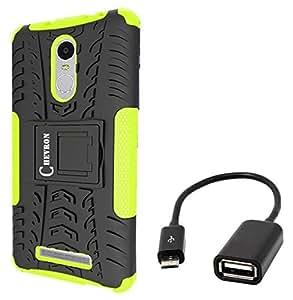 Chevron Tough Hybrid Armor Back Cover Case with Kickstand for Xiaomi RedMi Note 3/ Xiaomi RedMi Note 3 Prime with Micro OTG Cable (Green)