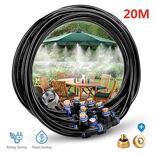 20 Outdoor-garten (FOOSKOO Watering Bewässerungssystem Outdoor Misting Kühlsystem Wassersprühstrahl 20 M Schlauch + Stecker 11 Bewässerungs-Sprühdüsen-Bewässerungs-Kits für Trampolin Outdoor-Garten-Sprühgerät)