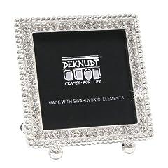 Idea Regalo - Deknudt Frames S66LA3 - Cornice portafoto quadrata, con elementi di Swarovski decorativi, per foto 5 x 5 cm, 9 x 8 x 2,5 cm, colore argento, metallo
