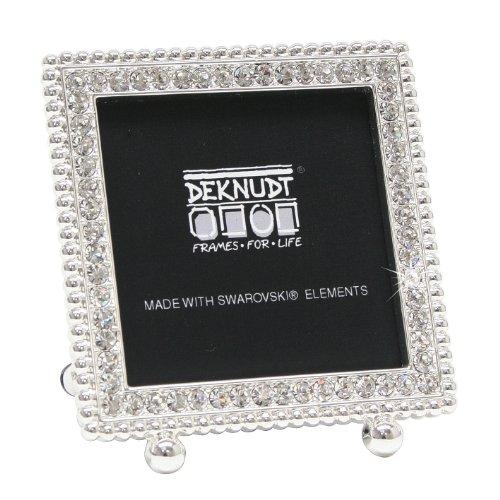 Deknudt frames s66la3 - cornice portafoto quadrata, con elementi di swarovski decorativi, per foto 5 x 5 cm, 9 x 8 x 2,5 cm, colore argento