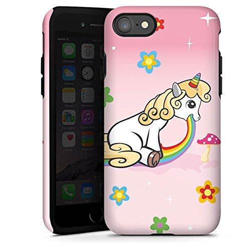 Apple iPhone X Silikon Hülle Case Schutzhülle einhorn unicorn regenbogen Tough Case glänzend