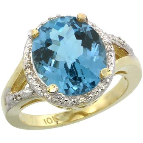 Revoni-Catenina in oro giallo 9 kt, con topazio blu naturale, 18 ct-Anello con pietra ovale, 12 x 10 pezzi, taglie J-T 1/2 - Topaz 10 Pezzo