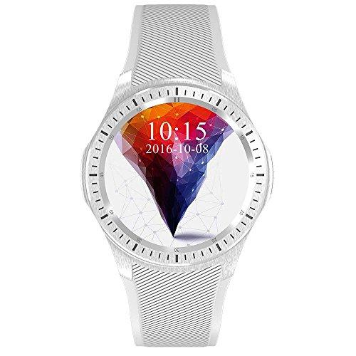Wilabuda Reloj Inteligente a Prueba de Agua dial Redondo WiFi Paso tasa de monitoreo de la frecuencia cardíaca GPS Bluetooth Deportes Pulsera, Gris Plata
