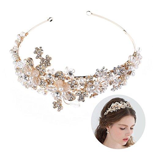 Oshide Haarschmuck Hochzeit 1 Stück Perlen und Luxus Kristall Haarreif Vintage Brautschmuck