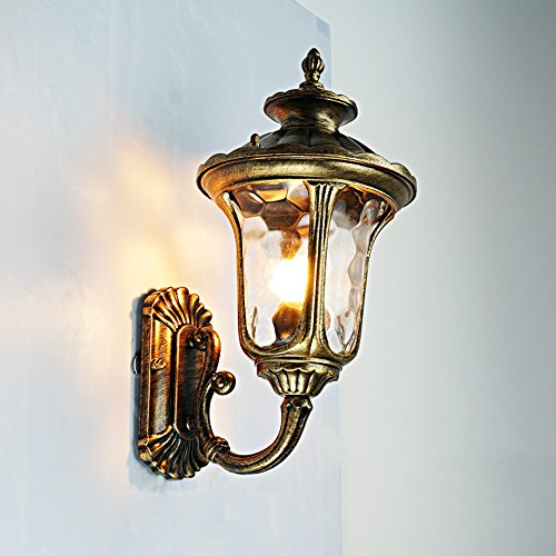 Rechteckige Abgeschrägte Glas (Modeen Traditionelle Art-Schwarz-im Freien unten Wand-Lichter Druckgussaluminium-abgeschrägtes Glas an der Wand befestigt IP23 Wand-Laterne-Wand-Lampe ( Color : Bronze ))