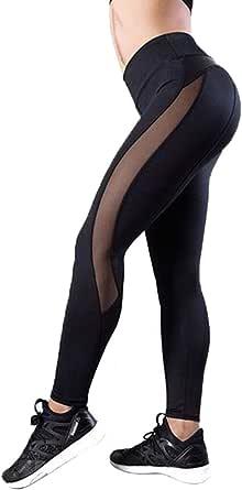 CROSS1946 Leggins Sportivi Tuta Donna a Pannelli Inserti in Mesh con Tulle a Vita Alta Pantaloni Yoga Calzamaglia Maglia Leggings Corsa Abbigliamento Allenamento Sport Palestra