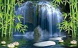 Wh-Porp Wandbild Wohnkultur Bambus Wald Wasserfall Hintergrund Wanddekoration Malerei Raum Lotus 3D Wallpaper Wandbild-450Cmx300Cm