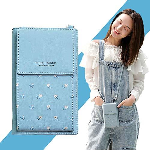 1PC Frauen PU-Leder Crossbody Beutel-Telefon-Beutel-Handy-Geldbeutel mit Reißverschluss-Mappen-Kupplung Kleiner Umhängetasche Schultertasche Blau mit Blumen - Liebe Kupplung Brieftasche