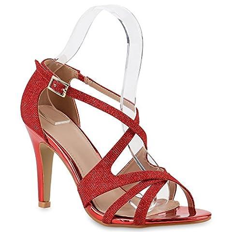 Damen Riemchensandaletten Sandaletten Stilettos High Heels Sommer Party Abiball Hochzeit Braut Schuhe 139367 Rot Rot Gold 38 | Flandell®