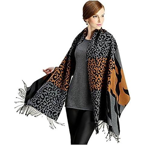 Nappe di seta Jacquard Vintage etnico stile donne sciarpa autunno e inverno antivento caldo scialle , 8310 zebra leopard coffee color