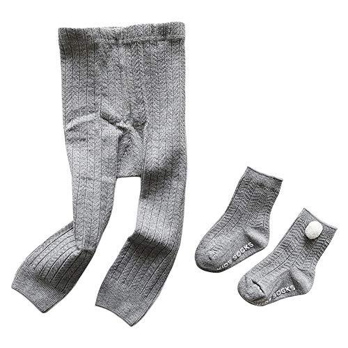 Camilife Baumwolle Strumpfhosen für Kleinkind Kinder Mädchen für Frühjahr Herbst Süß Lieblich Gestrickte Leggings Socken Set - Hellgrau Größe 21/23