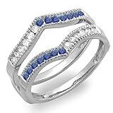 DazzlingRock Collection  -  14 Kt  Weißgold Rundschliff   Getöntes Weiß/Top Cape (K) blau Diamant Saphir