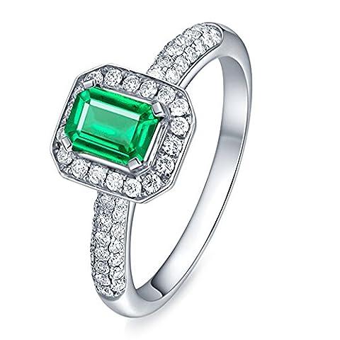 Kardy - 14 Karat (585) Weißgold Brilliant Rund Emerald(4X6mm) grün Émeraude Diamant