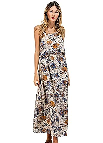 CHIC DIARY Women's Spaghetti Strap Bohemian Floral Print Maxi Dress Sundress (XL, #1 Print on Apricot